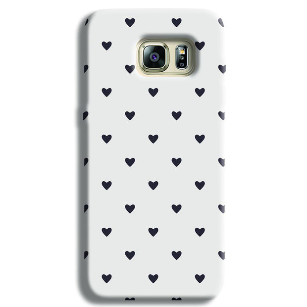 Black Heart Pattern Samsung S6 Edge Case