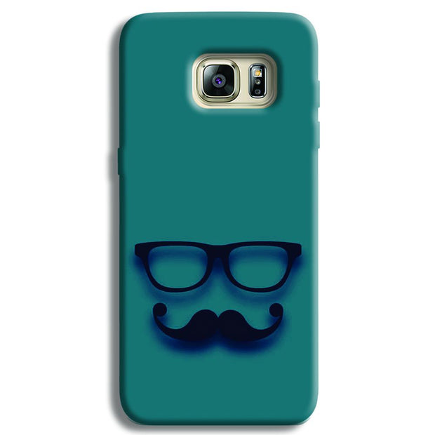 Cute mustache Blue Samsung S6 Edge Case