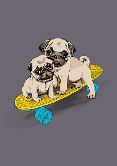Buy Pugs on a Skateboard Poster