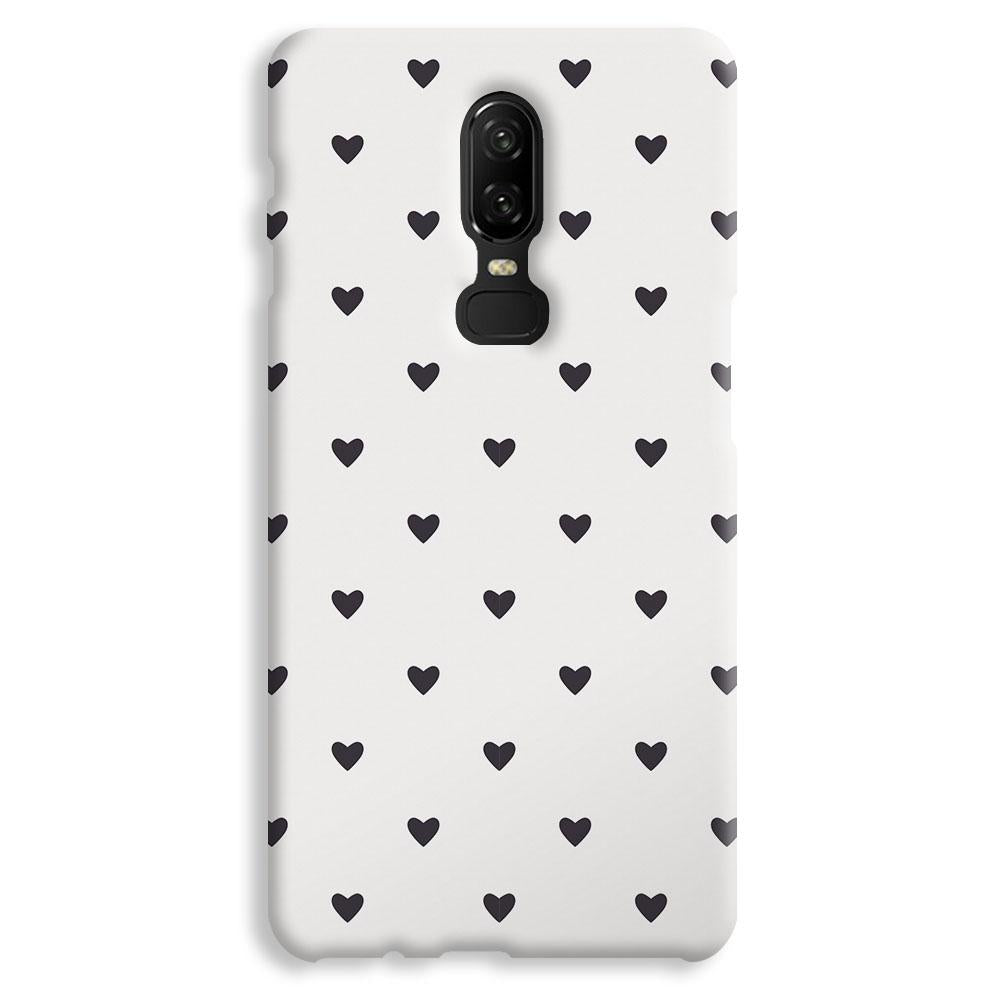 Black Heart Pattern OnePlus 6 Case
