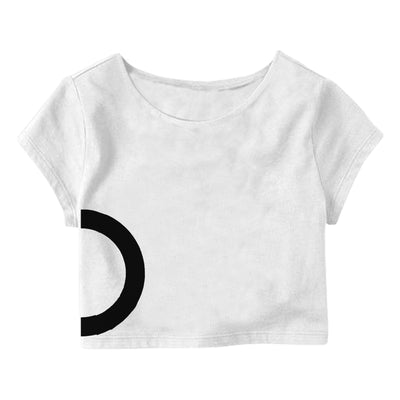 White Black Circle  Crop Top