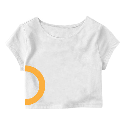 White Yellow Circle  Crop Top