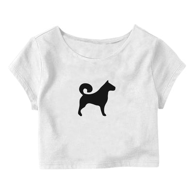 Dog-Silhouette Crop Top