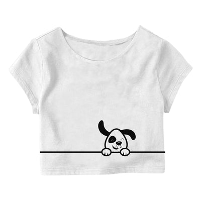 Dog-on-the-line Crop Top