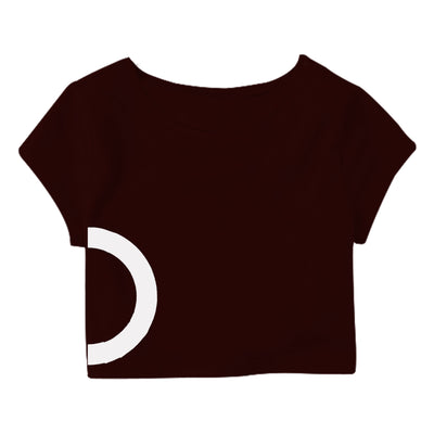 Maroon White Circle Crop Top