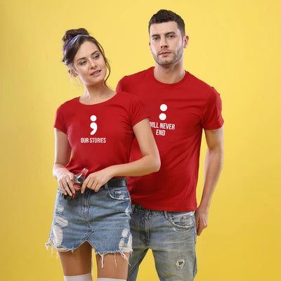 Our Stories Never End Couple Tee