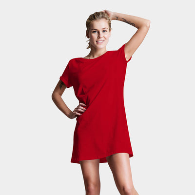 Plain Red T-Shirt Dress