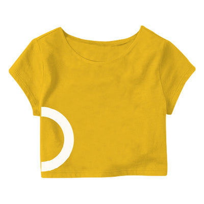 Yellow White Circle  Crop Top