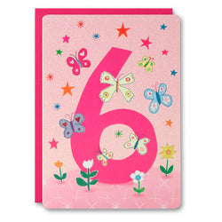 HC2402 - Girl Age 6 Butterflies Card
