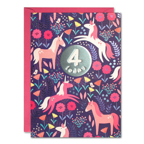 HC3144 - Age 4 Unicorns Card