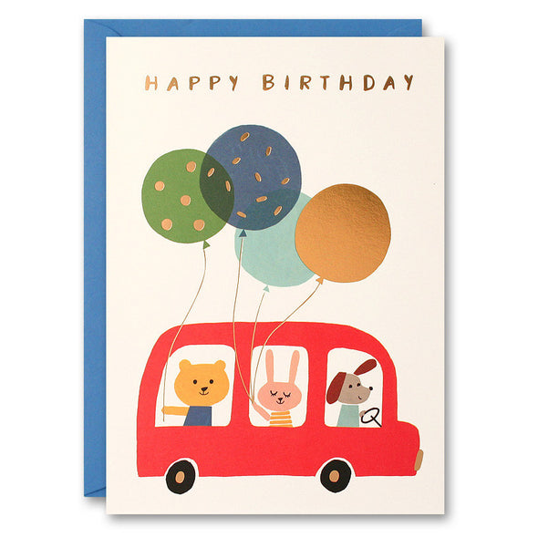HE2516 - Red Bus and Balloons Card