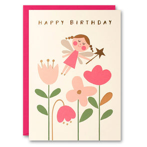 HE2517 - Pink Fairy and Flowers Card