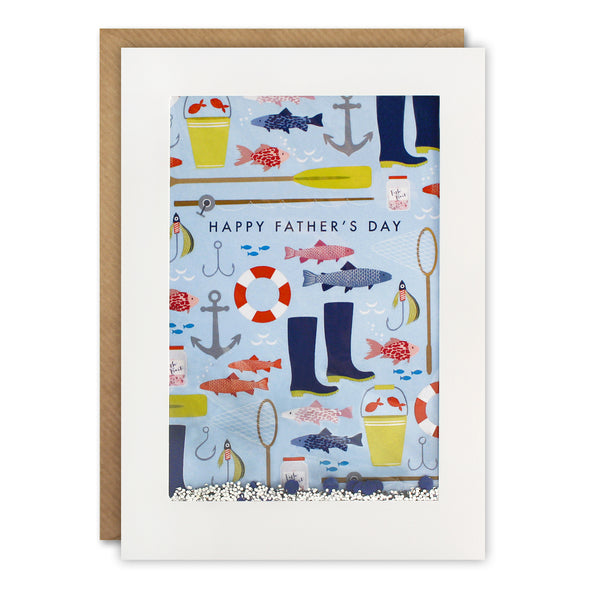 PH3037 - Dad Fishing Pattern Rectangular Shakies Card