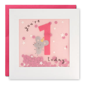 PP3267 - Age 1 Mouse Paper Shakies Card