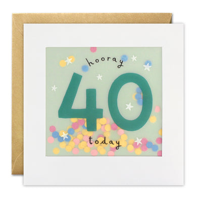 PP3322 - Age 40 Stars Paper Shakies Card
