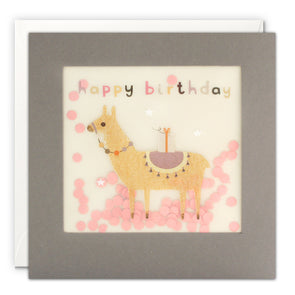 PP3331 - Happy Birthday Llama Grey Paper Shakies Card