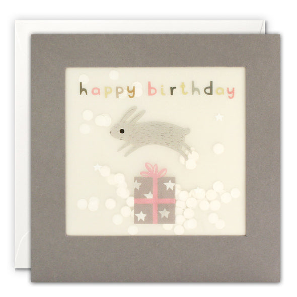 PP3332 - Happy Birthday Bunny Grey Paper Shakies Card