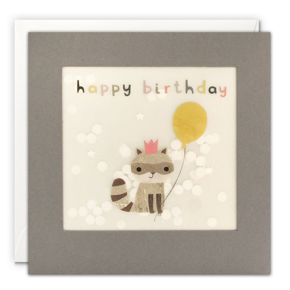 PP3333 - Happy Birthday Racoon Grey Paper Shakies Card