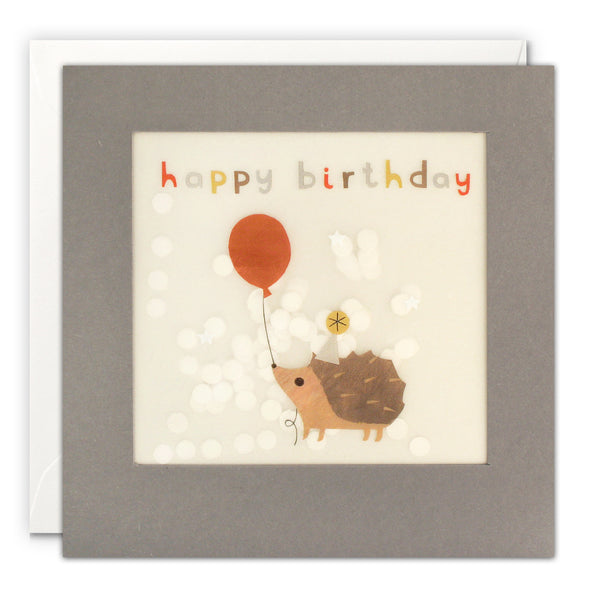 PP3334 - Happy Birthday Hedgehog Grey Paper Shakies Card