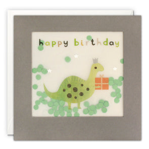 PP3335 - Happy Birthday Dinosaur Grey Paper Shakies Card