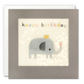 PP3337 - Happy Birthday Elephant Grey Paper Shakies Card