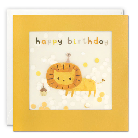 PP3339 - Happy Birthday Lion Grey Paper Shakies Card
