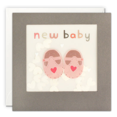 PP3346 - New Baby Pink Shoes Grey Paper Shakies Card