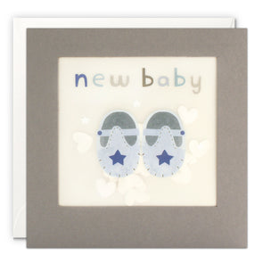 PP3347 - New Baby Blue Shoes Grey Paper Shakies Card