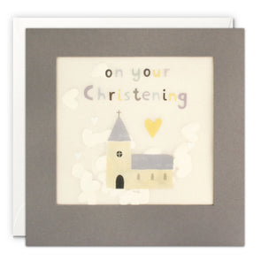 PP3349 - Christening Church Grey Paper Shakies Card