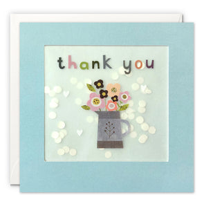PP3350 - Thank You Flower Jug Grey Paper Shakies Card