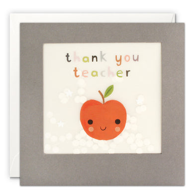 PP3351 - Thank You Teacher Apple Grey Paper Shakies Card