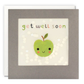 PP3355 - Get Well Soon Apple Grey Paper Shakies Card