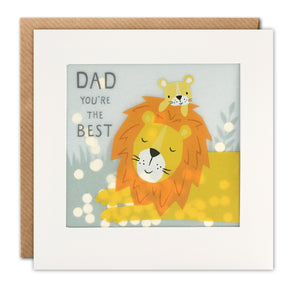PP3370 - Best Dad Lion Paper Shakies Card