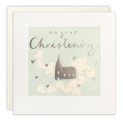 PP3441 - Silver Christening Church Paper Shakies Card