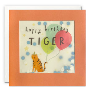 PP3539 - Birthday Tiger Paper Shakies Card