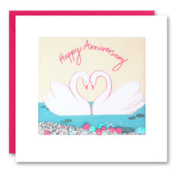PS2404 - Two Swans Anniversary Shakies Card