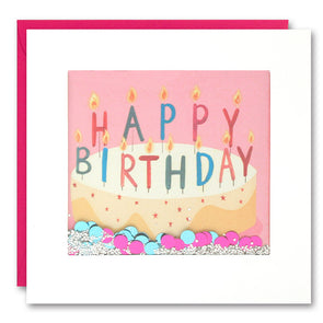 PS2405 - Cake with Pink Background Shakies Card