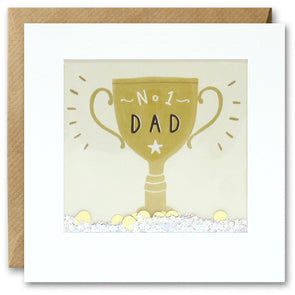 PT2847 - No 1 Dad Gold Cup Shakies Card