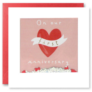 PT2866 - First Anniversary Heart Shakies Card