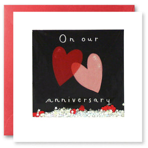 PT2867 - Our Anniversary Two Hearts Shakies Card