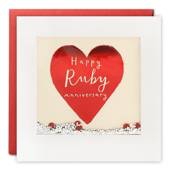 PT2898 - Ruby Anniversary Foiled Shakies Card