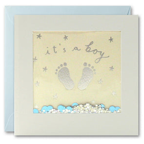 PT2901 - It's a Boy Feet Foiled Shakies Card