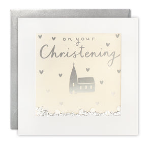 PT2903 - Christening Church Foiled Shakies Card