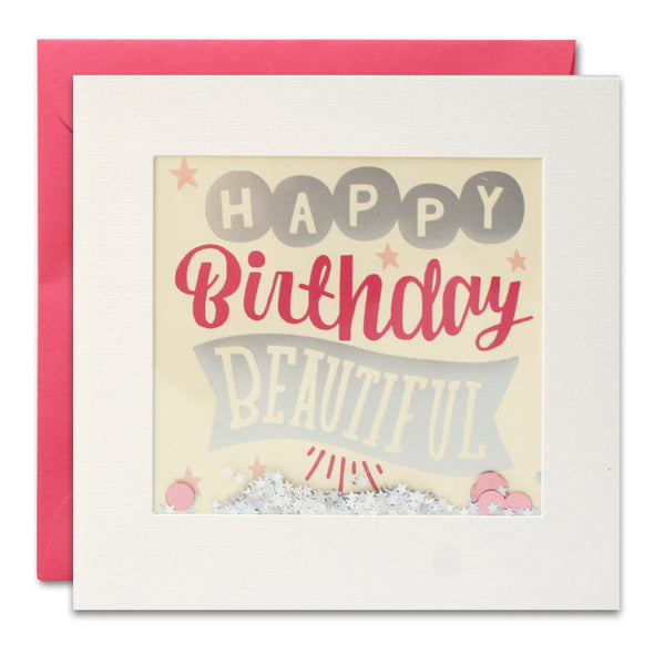PT3005 - Happy Birthday Beautiful Foiled Shakies Card