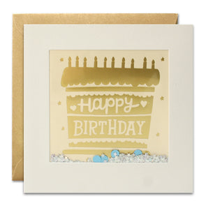 PT3006 - Gold Birthday Cake Foiled Shakies Card