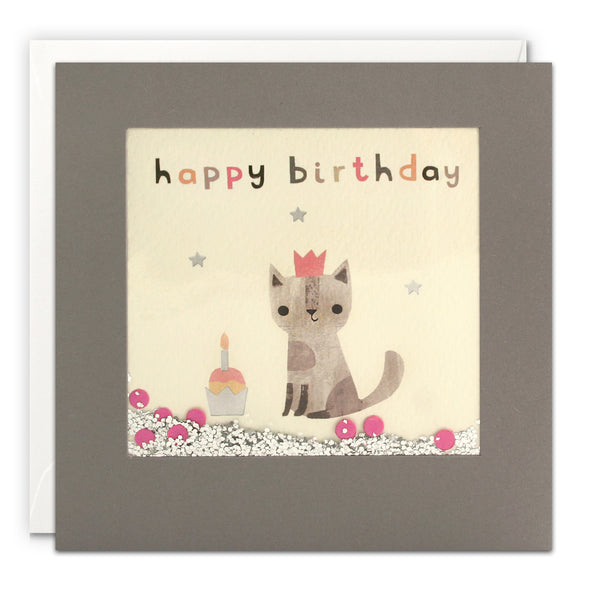PT3201 - Happy Birthday Cat Grey Shakies Card