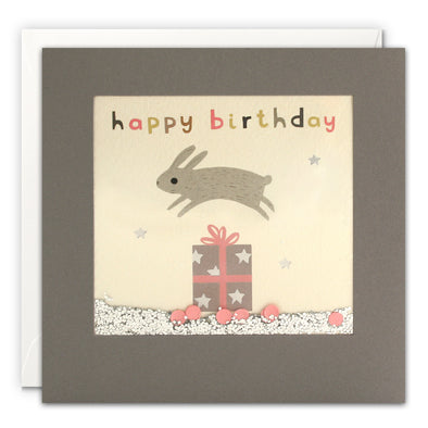 PT3204 - Happy Birthday Bunny Grey Shakies Card