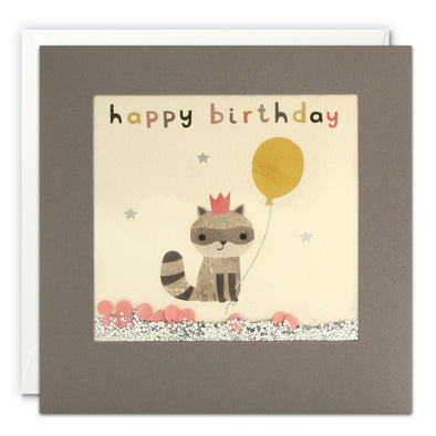 PT3205 - Happy Birthday Racoon Grey Shakies Card