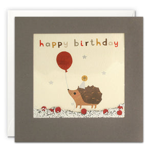 PT3206 - Happy Birthday Hedgehog Grey Shakies Card