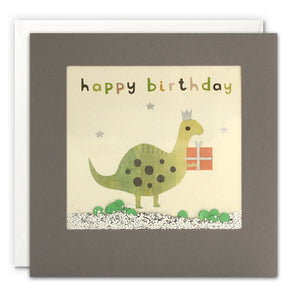 PT3207 - Happy Birthday Dinosaur Grey Shakies Card